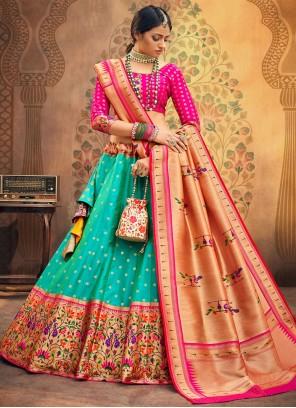 Lehenga Choli Fancy Silk in Rama