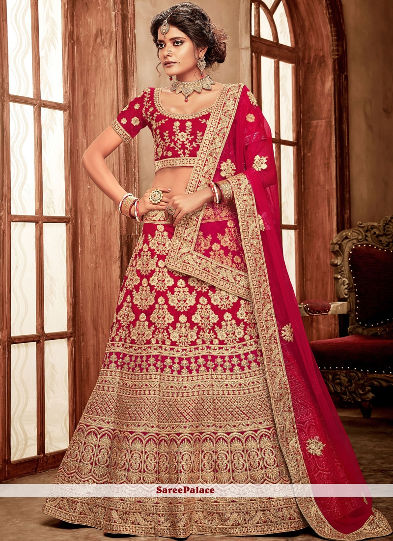 Red Velvet Lehenga Choli For Bridal
