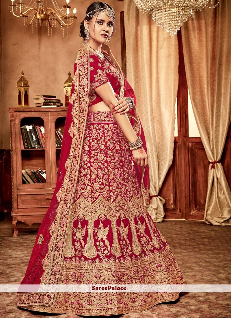 Velvet Red Lehenga Choli For Bridal