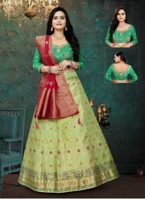 Green Banarasi Silk Lehenga Choli For Mehndi