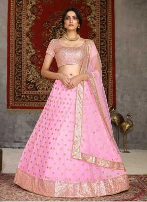 Pink Embroidered Net Lehenga Choli For Sangeet