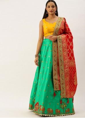 Sea Green Embroidered Lehenga Choli For Sangeet