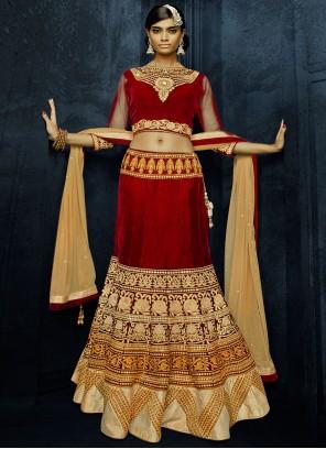 Red Embroidered Velvet Lehenga Choli For Sangeet
