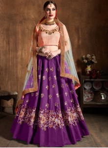 Lehenga Choli Lace Raw Silk in Purple