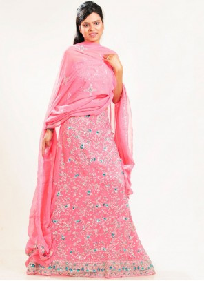 Lehenga Choli Patch Border Faux Georgette in Pink
