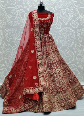 Lehenga Choli Patch Border Velvet in Red