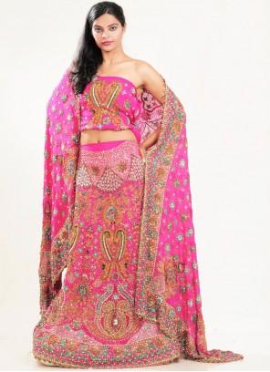 Lehenga Choli Resham Faux Crepe in Pink