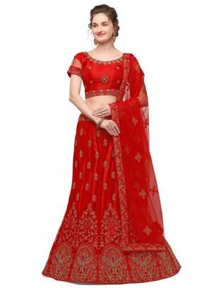 Lehenga Choli Resham Net in Red