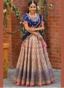 Lehenga Choli Resham Satin in Multi Colour