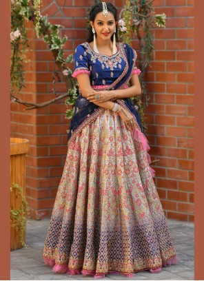 Lehenga Choli Resham Satin in Multi Colour