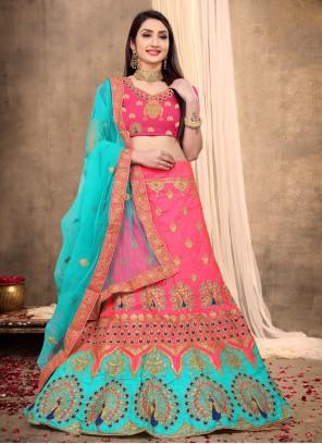 Lehenga Choli Resham Silk in Rose Pink