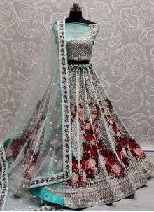 Lehenga Choli Sequins Net in Blue