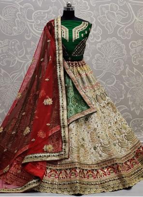 Lehenga Choli Thread Work Silk in Green, Off White and Red