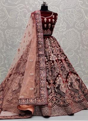 Lehenga Choli Thread Work Velvet in Maroon