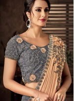 Lehenga Style Saree Resham Tafeta Silk in Grey
