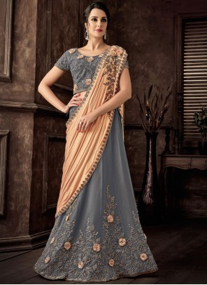 Lehenga Style Saree Resham Tafeta Silk in Grey