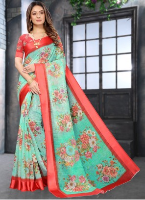 Linen Abstract Print Casual Saree in Multi Colour