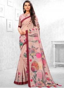 Linen Abstract Print Multi Colour Saree