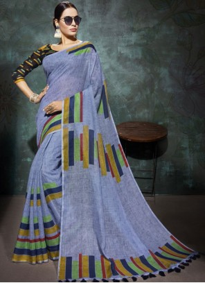 Linen Abstract Print Printed Saree in Blue