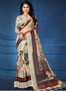 Linen Abstract Print Printed Saree in Multi Colour