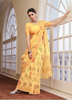 Linen Abstract Print Printed Saree in Yellow