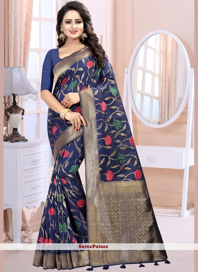 Linen Blue Classic Designer Saree