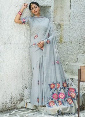 Linen Blue Print Classic Designer Saree