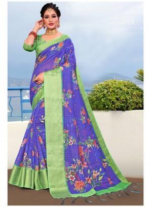 Linen Blue Floral Printed Saree