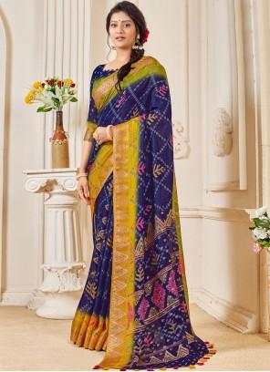 Linen Blue Woven Classic Saree
