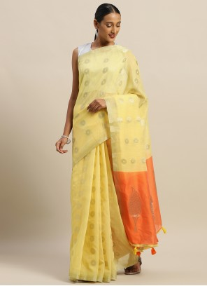 Mustard Linen  Weaving Zari Casual Saree