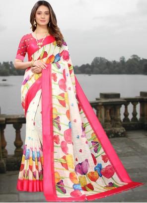 Linen Casual Saree in Multi Colour