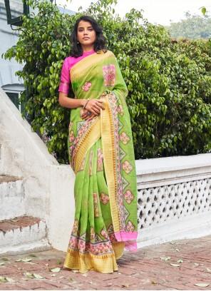 Green Weaving Zari Linen Classic Designer Saree