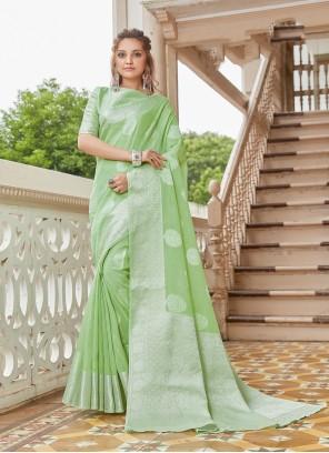 Green Linen Classic Saree