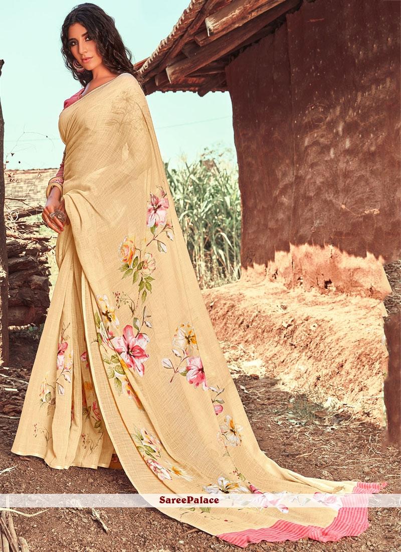 Linen Classic Saree in Cream