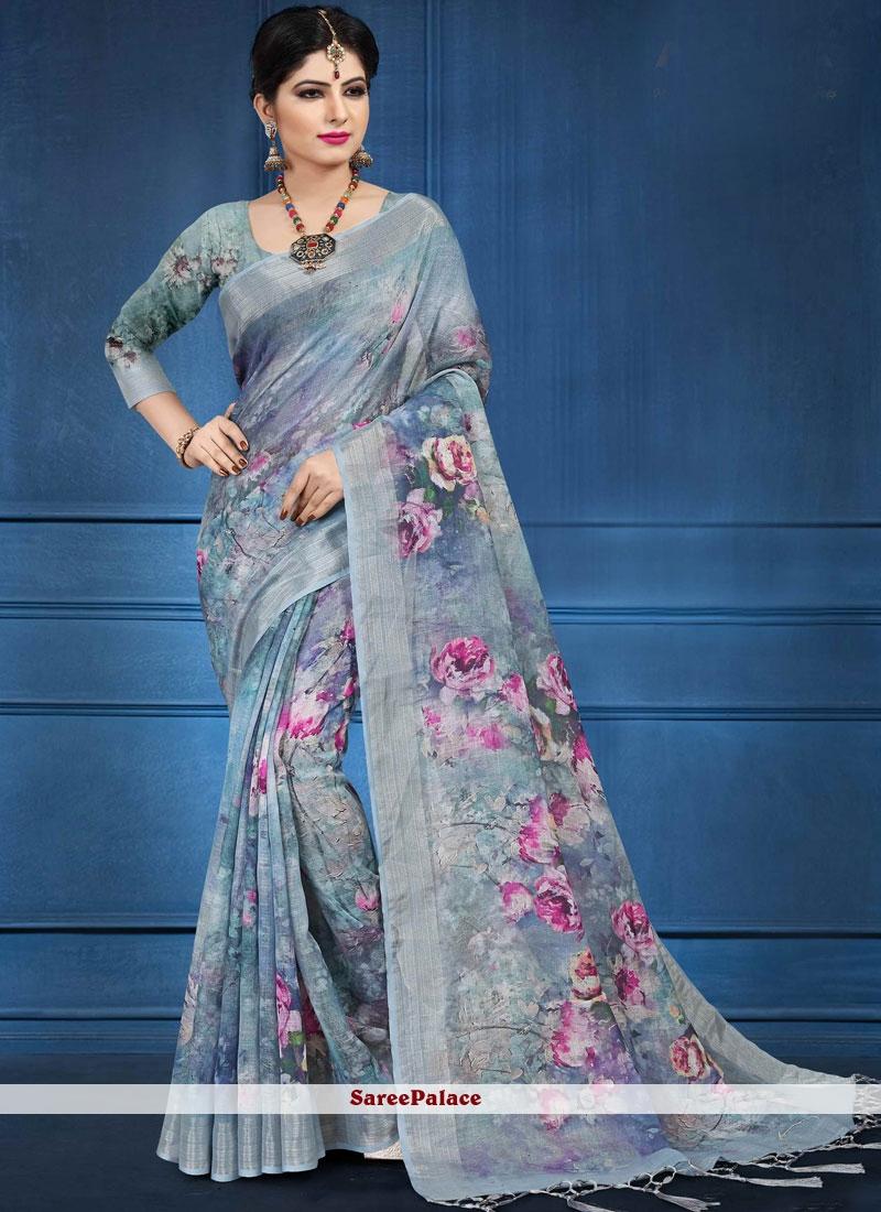 3211c9eea7 Buy Linen Digital Print Blue Printed Saree Online