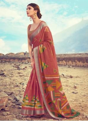 Linen Digital Print Classic Saree in Maroon