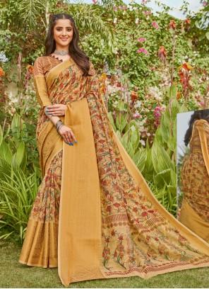 Linen Digital Print Gold Printed Saree