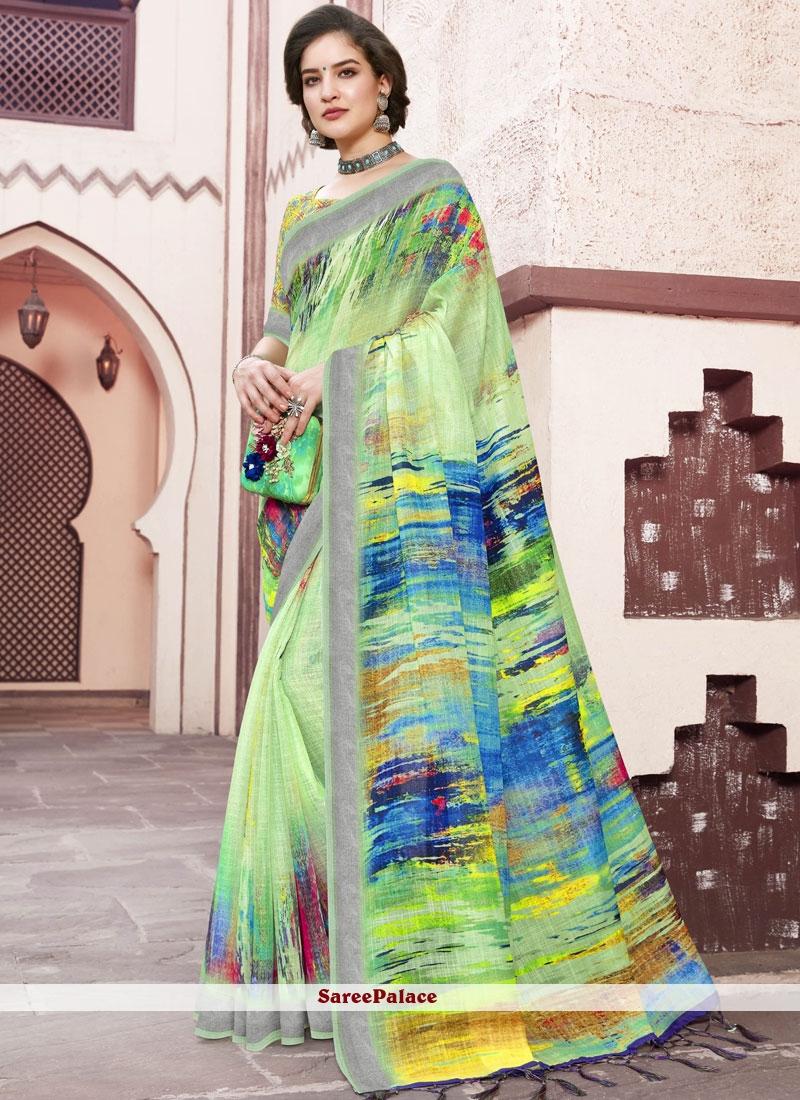Linen Digital Print Green Trendy Saree