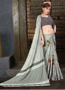 Linen Digital Print Grey Contemporary Saree