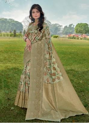 Linen Digital Print Trendy Saree in Green