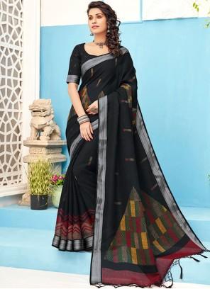 Linen Embroidered Black Designer Saree
