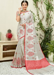 Linen Embroidered Casual Saree