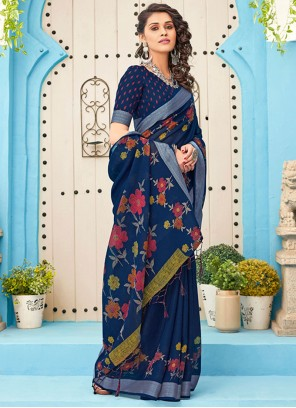 Linen Embroidered Navy Blue Designer Saree