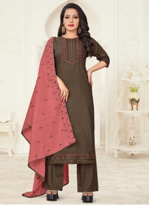 Brown Linen Embroidered Readymade Suit