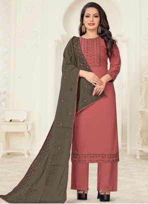 Linen Embroidered Salmon Readymade Suit