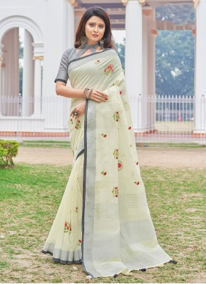 Linen Embroidered Yellow Casual Saree