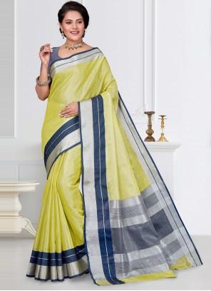 Yellow Linen Fancy Work Classic Saree
