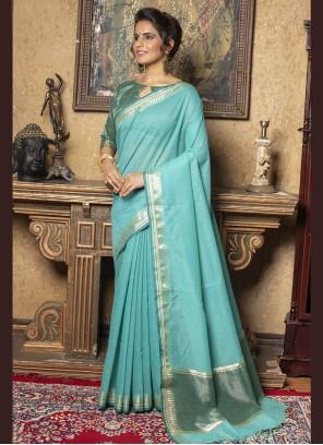 Aqua Blue Linen Fancy Trendy Saree