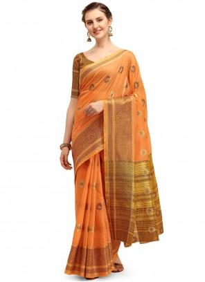 Linen Festival Orange Classic Saree