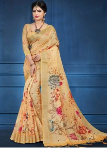 Multi Colour Linen Festival Printed Saree